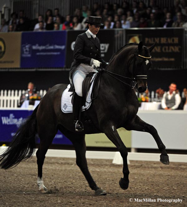 Sweden's Tinne Vilhelmson-Silfven and Lovsta Stuteri's Don Auriello took the top prize in the 70,000 Euro World Dressage Masters Exquis Freestyle on Saturday evening  Photo by Allen MacMillan/MacMillan Photography
