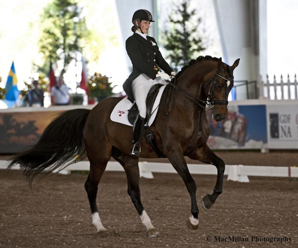 Cheryl Meizner riding Paganini for John Risley captured third in the Grand Prix Special CDI3*  Photo by Allen MacMillan