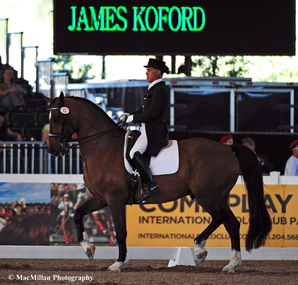 James Koford of the U.S. riding Rhett finished second in the CDI5* Grand Prix Special on Saturday afternoon at the 2013 World Dressage Masters.    Photo by Allen MacMillan/MacMillan Photography