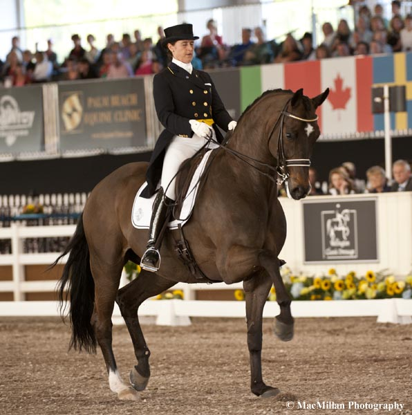 Tinne Vilhelmson-Silfven of Sweden riding Lovsta Stuteri's Don Auriello took second in the Grand Prix CDI5* at the 2013 World Dressage Masters.  Don Auriello is an 11-year-old Hanoverian gelding by Don Davidoff.Photo by Shelley Higgins/MacMillan Photography