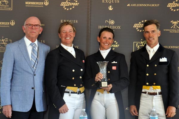The CDI5* Grand Prix Special top three riders from Saturday afternoon at the 2013 World Dressage Masters, left to right: Anthony Kies, organizer of the World Dressage Masters; Jacqueline Brooks of Canada, third; Mikala Gundersen, first, and James Koford of the U.S.A, second.    Photo by Shelley Higgins/MacMillan Photography