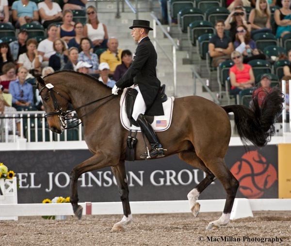 U.S. Olympic rider Steffen Peters and Legolas 92, an 11-year-old Westphalian gelding owned by Akiko Yamazaki's Four Winds Farm, scored  75.149% to take third in the Grand Prix CDI5* at the 2013 World Dressage Masters in  West Palm Beach.