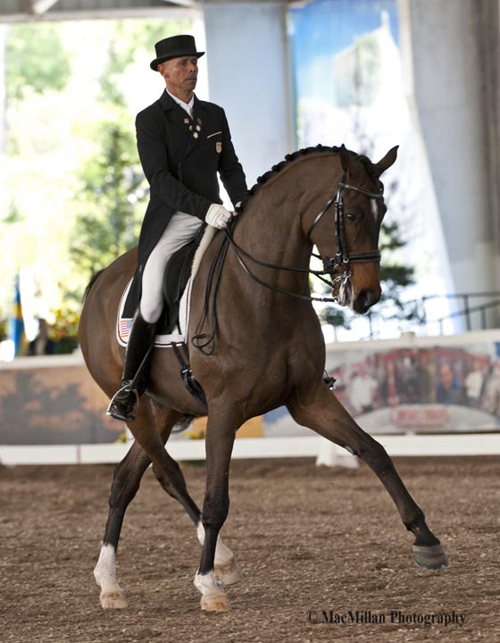 U.S. rider Steffen Peters and Four Wind Farm's Legolas 92 took third in the CDI5* Grand Prix and the CDI5* Freestyle at the 2013 World Dressage Masters.   Photo by Shelley Higgins/MacMillan Photography