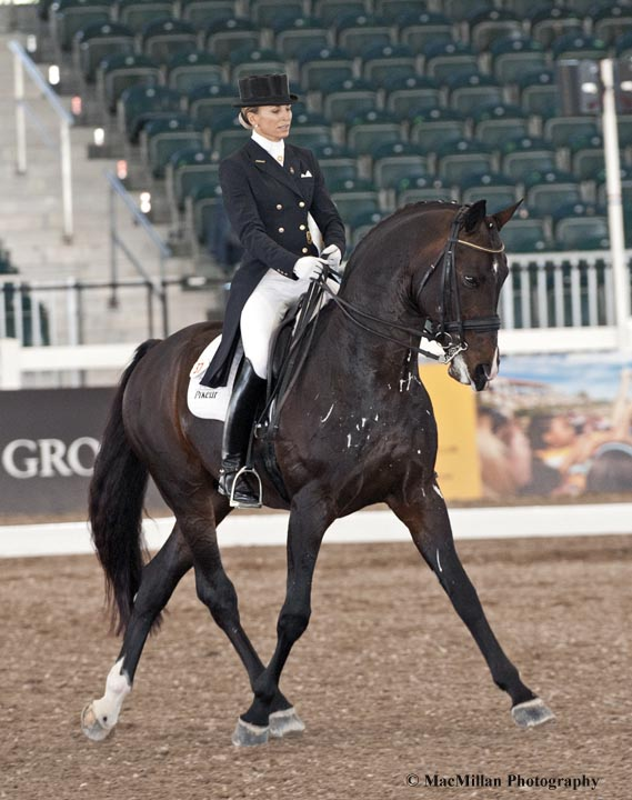 Lisa Wilcox riding Pikko del Cerro HU owned by Horses Unlimited took first in the Grand Prix Special CDI3*  Photo by Allen MacMillan