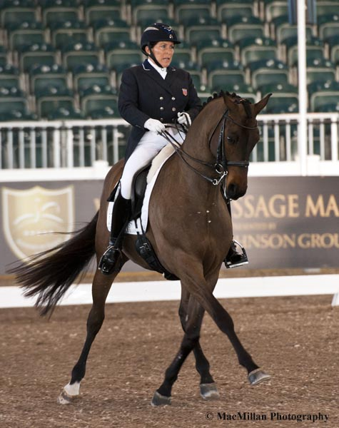 Shelly Francis and Doktor owned by Patricia Stempel finished second in the Grand Prix Special CDI3*  Photo by Allen MacMillan