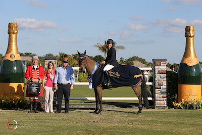 Brianne Goutal and Onira in their winning presentation with ringmaster Cliff Haines and Meg Krueger and Michael Stone of Equestrian Sport Productions. Photo © Sportfot.