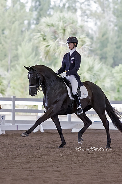 Dressage rider and trainer Caroline Roffman of Lionshare Dressage, and her beautiful black mare, Her Highness O, dominated during the Wellington Classic Dressage Challenge I, taking firsts in both the FEI Prix St Georges Open and FEI Intermediare 1.  (Photo courtesy of Al Guden)