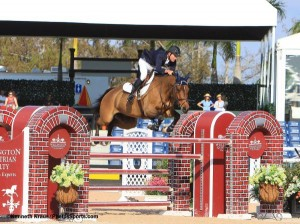Charlie Jacobs and Flaming Star won the $30,000 Mar-O-Lago Club Grand Prix at WEF 1. Photo By Kenneth Kraus/PhelpsSports.com.