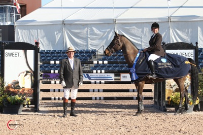 Katie Monahan-Prudent and V in their winning presentation with ringmaster Cliff Haines. Photo © Sportfot.