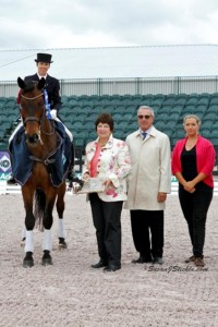 Christilot Boylen and Hudson 18 in their presentation with Elizabeth Juliano of Havensafe Farm, judge Gary Rockwell and Aliza Korasz of Equestrian Sport Productions
