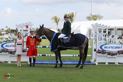 Cian O'Connor and Walk Tall II in their winning presentation with ringmaster Cliff Haines and Equestrian Sport Productions' Whitney Stahl. Photo © Sportfot.