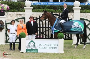 Kalvin Dobbs and Winde in their winning presentation with ringmaster Cliff Haines along with Artisan Farms representative Jennifer Ward and Dutta Corporation representative Tim Dutta, Jr. Photo © Sportfot.