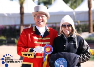 Stephanie Riggio with ringmaster Cliff Haines. Photo © Anne Gittins Photography.