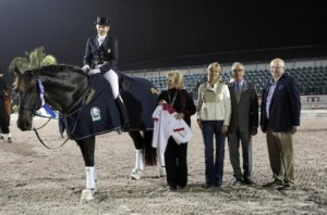 Tina Konyot and Calecto V in their presentation with Joan Mack and Kim Boyer of USPRE Association, judge Gary Rockwell, and Michael Stone, President of Equestrian Sport Productions