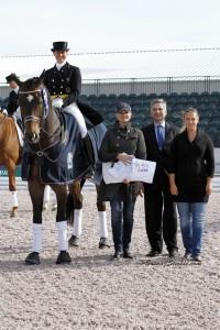 Tinne Vilhelmson-Silfven and Don Auriello with Kim Boyer of USPRE Association, judge Jean-Michel Roudier and Aliza Korasz of Equestrian Sport Productions