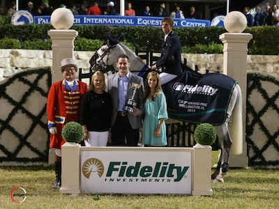 Ben Maher and Cella with ringmaster Cliff Haines, owner Jane F. Clark, Fidelity Investments Account Executive at PBI Joshua Dewitt and Kate Dewitt. Photo © Sportfot.