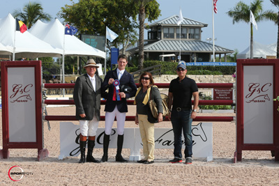 Daniel Deusser in his winning presentation with ringmaster Cliff Haines and Doris Fihman and Gustavo Mirabal of G&C Farm. Photo © Sportfot.