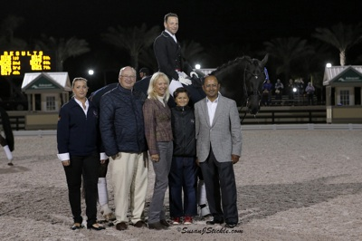 David Marcus and Chrevi's Capital with Aliza Korasz and Michael Stone of Equestrian Sport Producitons, Anne Gribbons, and Timmy and Tim Dutta.  Photo © SusanJStickle.com