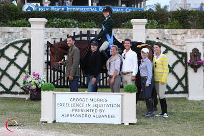 Lillie Keenan and Clearway in their winning presentation with ringmaster Cliff Haines and the team from Heritage Farm. Photo © Sportfot.