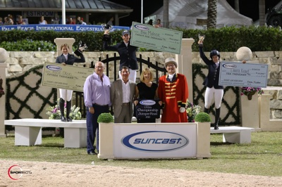 $50,000 Suncast 1.50m Championship Jumper Series top three riders Ben Maher, Alise Oken and Laura Kraut with Equestrian Sport Productions' President Michael Stone, Jeannie and Tom Tisbo of Suncast, and ringmaster Cliff Haines. Photo © Sportfot.