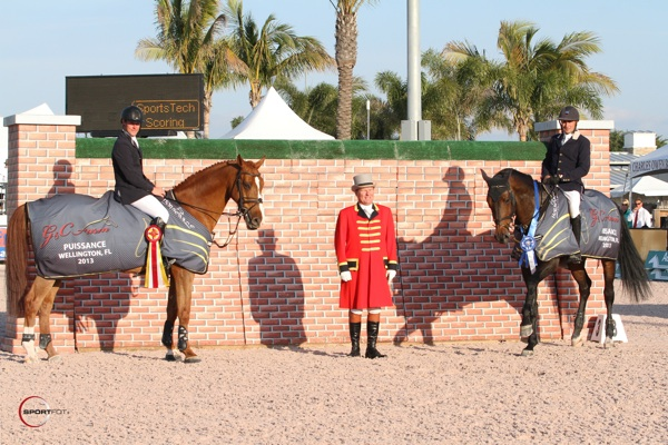 Johannes Ehning with Salvador V and Tim Gredley with Unex Valente and ringmaster Cliff Haines. Photo © Sportfot.