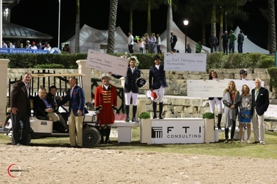 Kent Farrington, Conor Swail, Reed Kessler and Beezie Madden won the top four bonus checks in the $100,000 FTI Consulting Rider Challenge. Photo © Sportfot.