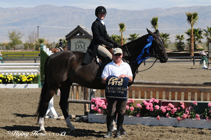©Flying Horse Photography Julia Jaschke and Finn accept top prizes after the 1,500 HITS Hunter Prix at HITS Thermal.