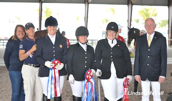 The U.S. team of Laureen Johnson, USEF Para-Equestrian High Performance Manager, team coach Missy Ransehousen, Mary Jordan, Eleanor Brimmer, Laurietta Oakleaf, and Judge Bo Ahman. Not pictured: Sydney Collier. Photo © Lindsay McCall