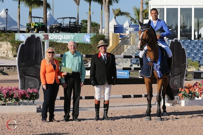Alvaro de Miranda and Show Show in their winning presentation with Jennifer Ward and Ed James for SSG Gloves and ringmaster Cliff Haines. Photo © Sportfot.