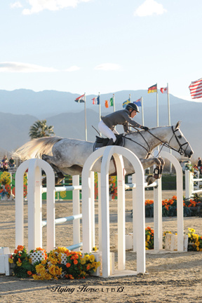 ©Flying Horse Photography After riding to second in last week's Sunday grand prix, Meredith Michaels-Beerbaum and Malou found their way to the top spot in yesterday's $50,000 HITS Grand Prix, presented by Zoetis, at HITS Thermal.