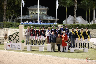 The top three young rider teams of USA, Canada and Colombia. Photo © Sportfot.