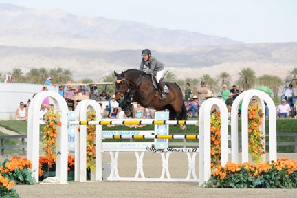 ©Flying Horse Photography Meredith Michaels-Beerbaum, aboard Bella Donna, jumps her way to a win in the AIG Thermal Million, which will be the 2014 kick-off event to the Triple Crown Challenge of Show Jumping.