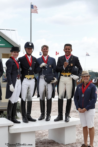Team USA 2: Susan Dutta, Justin Hardin, Christopher Hickey, Cesar Parra, with Leah Oliveto of the USEF