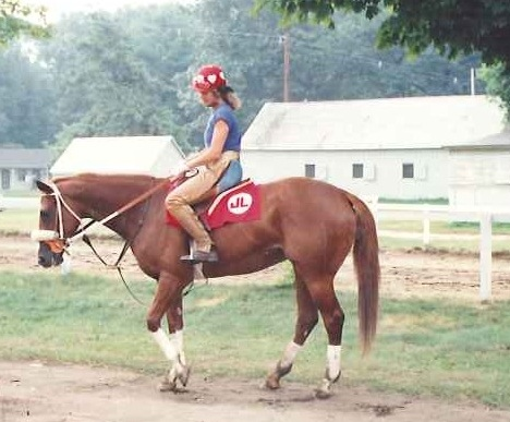 Jean Bickley as an exercise rider in Saratoga.