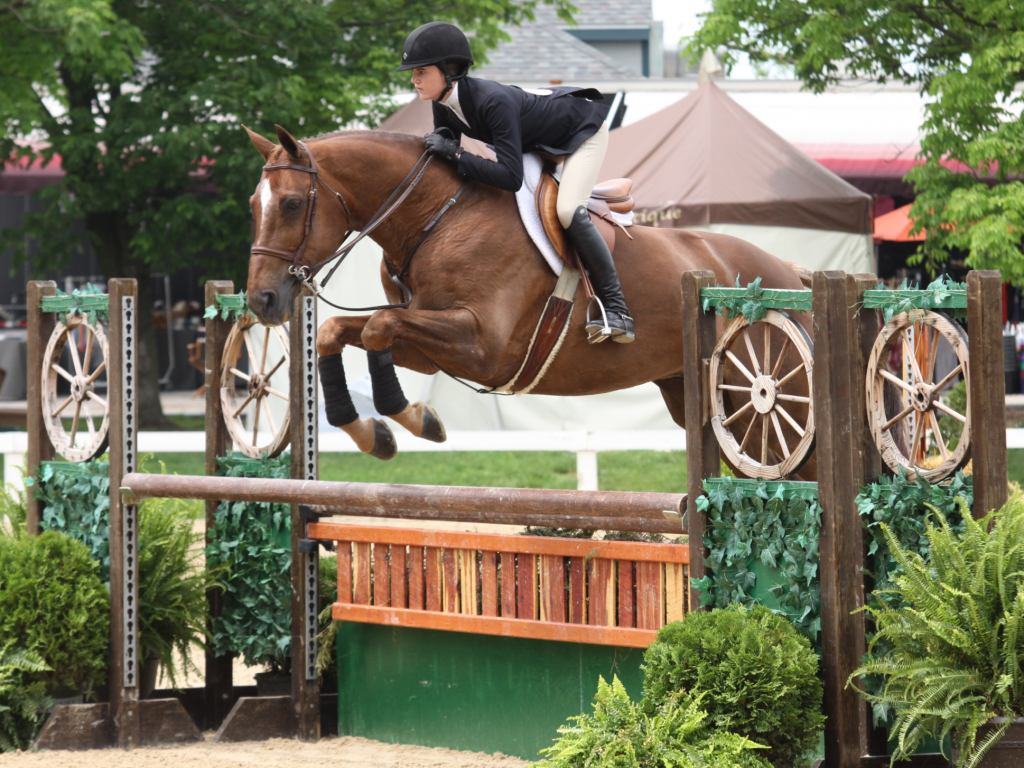 Vivian Yowan finished first in the Pessoa/USEF Hunter Seat Medal aboard Sanderson, pictured, and first in the hunter phase of the WIHS Equitation Qualifier aboard Naf Naf. Photo by Emily Riden.