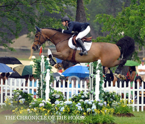 Angel Karolyi of Venezuela rode Amigo to victory in the $75,000 Upperville Jumper Classic on Sunday, June 9, at the Upperville Colt and Horse Show in Upperville, Virginia. Photo by Megan Brincks, The Chronicle of the Horse