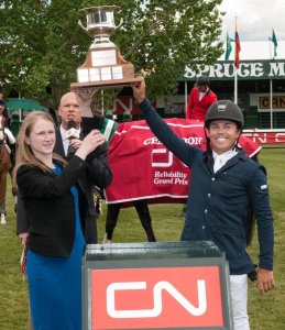 Kent Farrington in his winning presentation with Stacey Nestruck, Director of Marketing for CN.