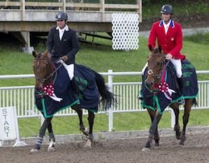 Phillip Dutton of the United States (left) riding Ben and William Coleman III riding Obos O'Reilly celebrate their respective victories in the CIC3* and CCI3* divisions of the 2013 Volvo CCI3* Bromont Three Day Event. Photo by Cealy Tetley, www.tetleyphoto.com