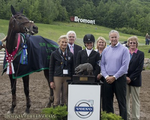 Erin Sylvester of the United States riding Mettraise won the CCI2* division at the Volvo CCI3* Bromont Three Day Event on June 9, 2013, in Bromont, Quebec. From left to right, Debbi Eaman, Martin Plewa (GER) of the Ground Jury, Erin Sylvester, Gillian Rolton (AUS) of the Ground Jury, Keith 'Skip' Eaman, and Annabel Scrimgeor (GBR), President of the Ground Jury. Photo by Cealy Tetley, www.tetleyphoto.com