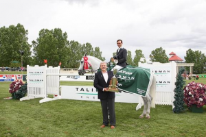Since Caballito pulled a shoe, Andres Rodriguez rode Ace High Mike in his presentation with Paul Smith, CSO of Talisman Energy. Photo © Spruce Meadows Media Services.