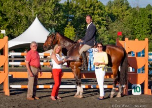 EMO Jumper Classic Presentation- winner Daniel Geitner and Jumbo Jet, presenters Martha Hall of EMO, Nelson and Pam Minnick of the Tryon Hounds