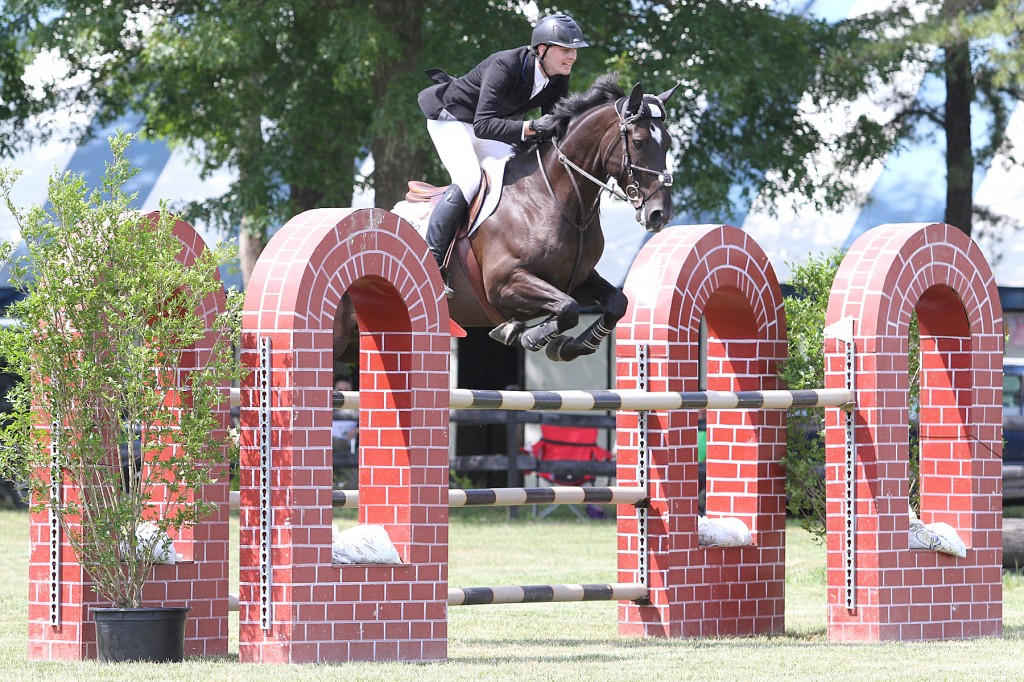 Michael Janson and Sangre Azul rode to the top of the $10,000 Fieldstone Grand Prix rankings during the Plymouth Rock Hunter/Jumper Classic.