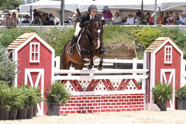 Amanda Hauser and Calido's Son took the blue in the $5,000 USHJA National Hunter Derby. Photo by Mary Adelaide Brakenridge.