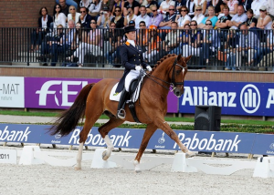 The Dressage partnership of The Netherlands' Adelinde Cornelissen and Jerich Parzival will be chasing their third consecutive victory in the Grand Prix Special and a back-to-back double in the Freestyle at the ECCO FEI European Championships 2013 in Herning.  Photo: FEI/Peter Nixon. Photo Catalogue: images for editorial purposes are available free of charge from www.feiphotos.org