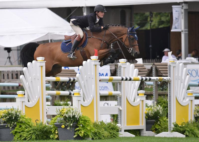 Peter Lutz rode Adarose to win section A of the $10,000 Newsday Open Jumper at the Hampton Classic. (Shawn McMillen photo)