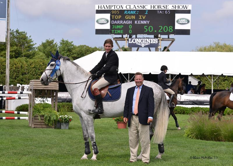 Darragh Kenny rode Top Gun IV to win section B of the $10,000 Newsday Open Jumper at the Hampton Classic. (Shawn McMillen photo)