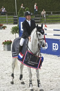 """2008 Canadian Olympic champion Eric Lamaze, pictured here with Cristalina, scored two victories in Valkenswaard, The Netherlands, on August 16."" Photo Credit – Global Champions Tour"
