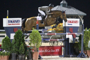 Pablo Barrios and Zara Leandra finished second in the Bluegrass Festival Horse Show's $25,000 Hagyard Lexington Classic. Photo By: Rebecca Walton. Photo may only be used in relation to this PMG press release.