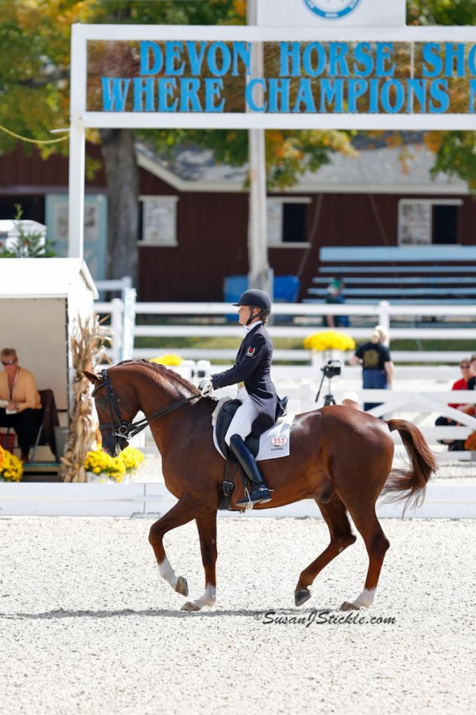 Photo - Ashley Holzer and Jewel's Adelante - First Place in the FEI Grand Prix for Special at Dressage at Devon CDI-W held Sept. 26-29, Devon, PA. Photo credit - SusanJStickle.com