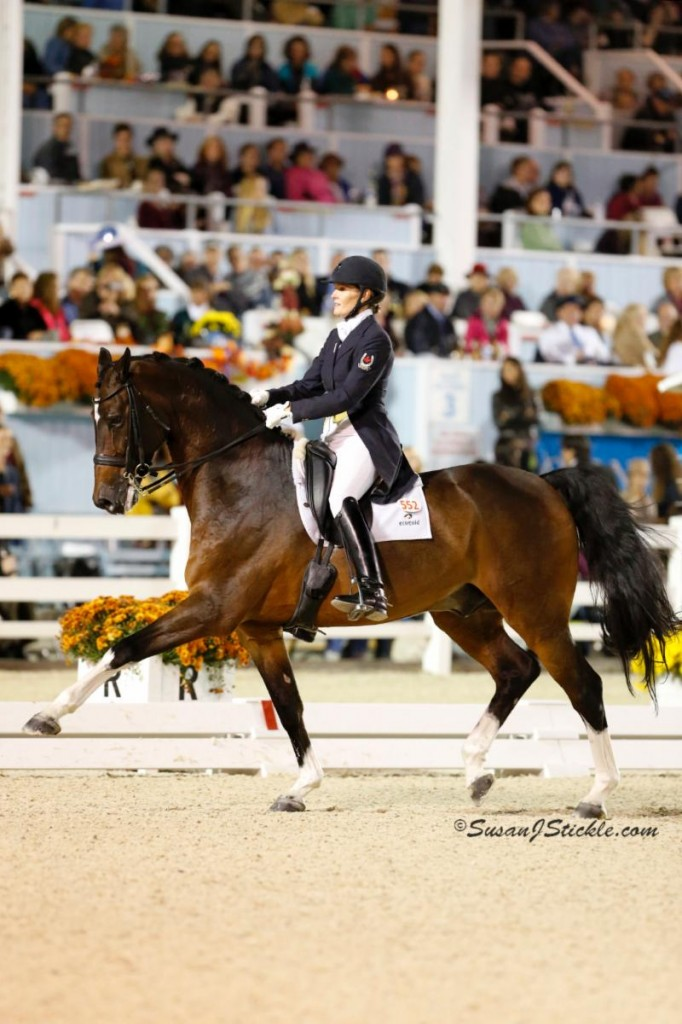 Photo - Ashley Holzer and Breaking Dawn - First Place in the Grand Prix for Freestyle at Dressage at Devon CDI-W held Sept. 26-29, Devon, PA. Photo credit - SusanJStickle.com